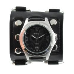 Nemesis Men's Punk Metal Black Skull Watch