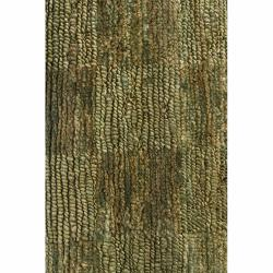 "Handwoven Mandara Green/Brown Rug (5' x 7'6"")"