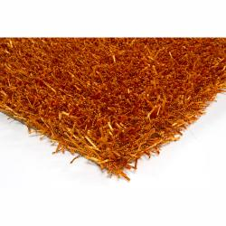 Hand-woven Mandara Orange Shag Rug (5' x 7'6)