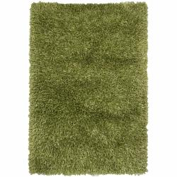 Handwoven Mandara Green Contemporary Shag Rug (7'9 x 10'6)