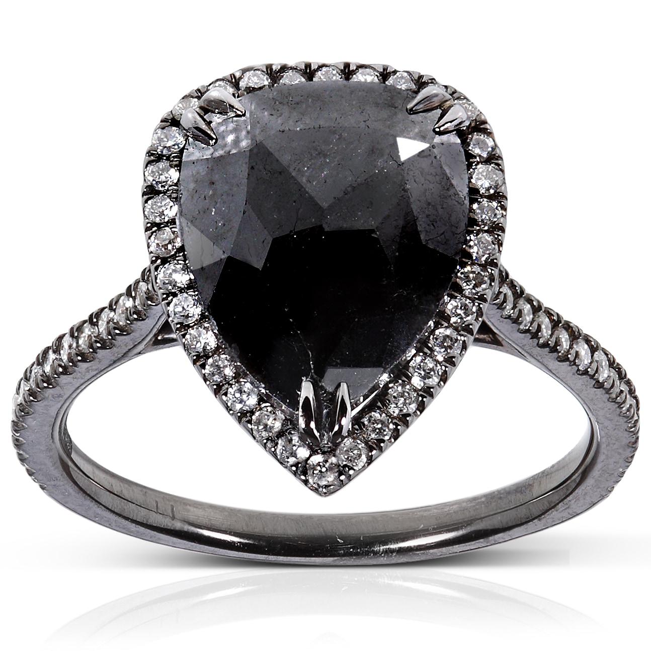 14k Gold 3 1/2ct TDW Certified Black and White Diamond Ring (J-K, I1-I2)