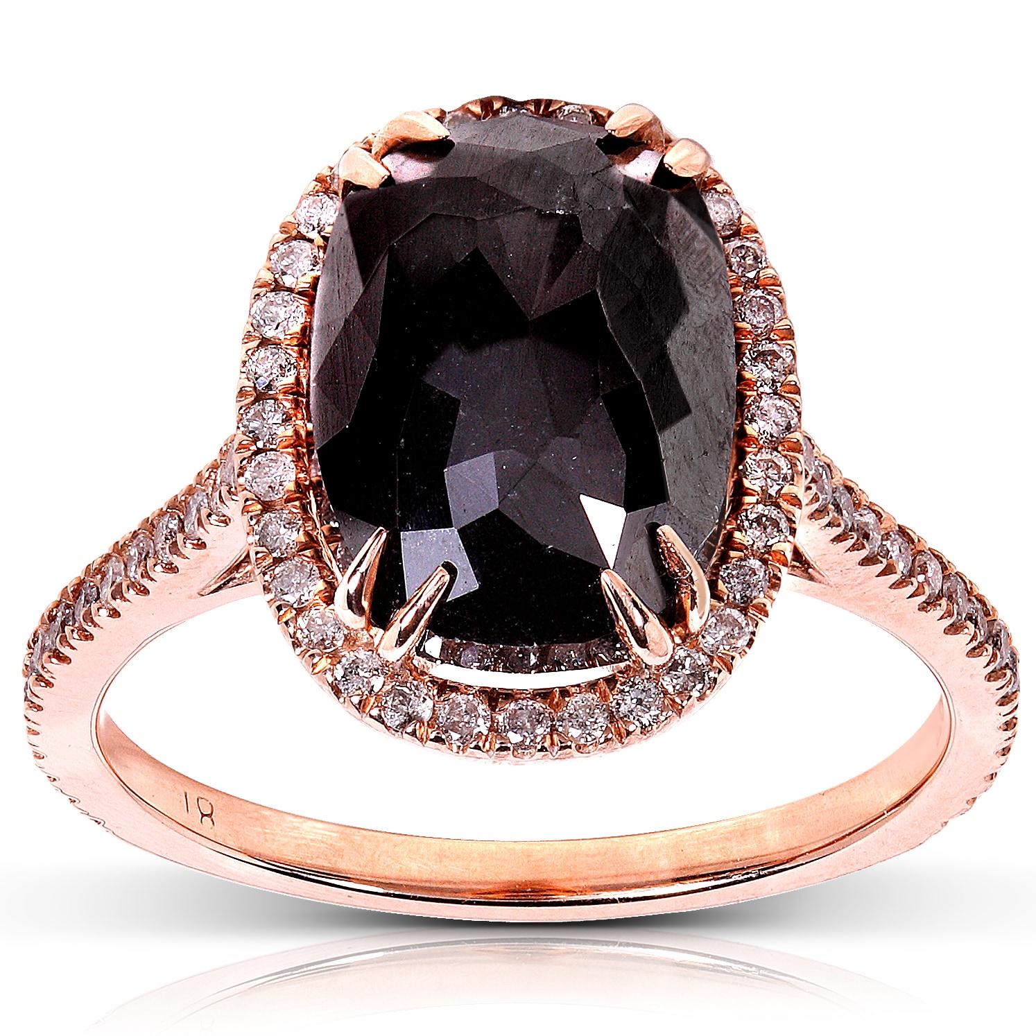14k Rose Gold 6ct TDW Certified Black and White Diamond Ring (J-K, I2)