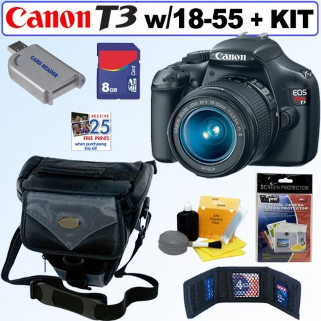 Canon EOS Rebel T3 12.2MP DSLR Camera/ 18-55mm IS II Lens/ 8GB Kit