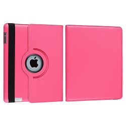 Hot Pink 360-degree Swivel Leather Case for Apple iPad 2
