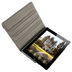 Grey 360-degree Swivel Leather Case for Apple iPad 2