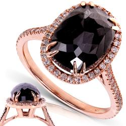 14k Rose Gold 6ct TDW Certified Black and White Diamond Ring (J-K, I2)