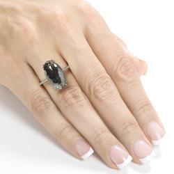 14k Gold 9 1/4ct TDW Certified Black and White Diamond Ring (H-I, I2)