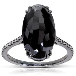 14k Gold 9 1/4ct TDW Certified Black and White Diamond Ring (H-I, I2)
