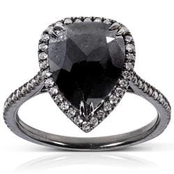 14k Gold 3 1/2ct TDW Certified Black and White Diamond Ring (J-K, I1-I2)