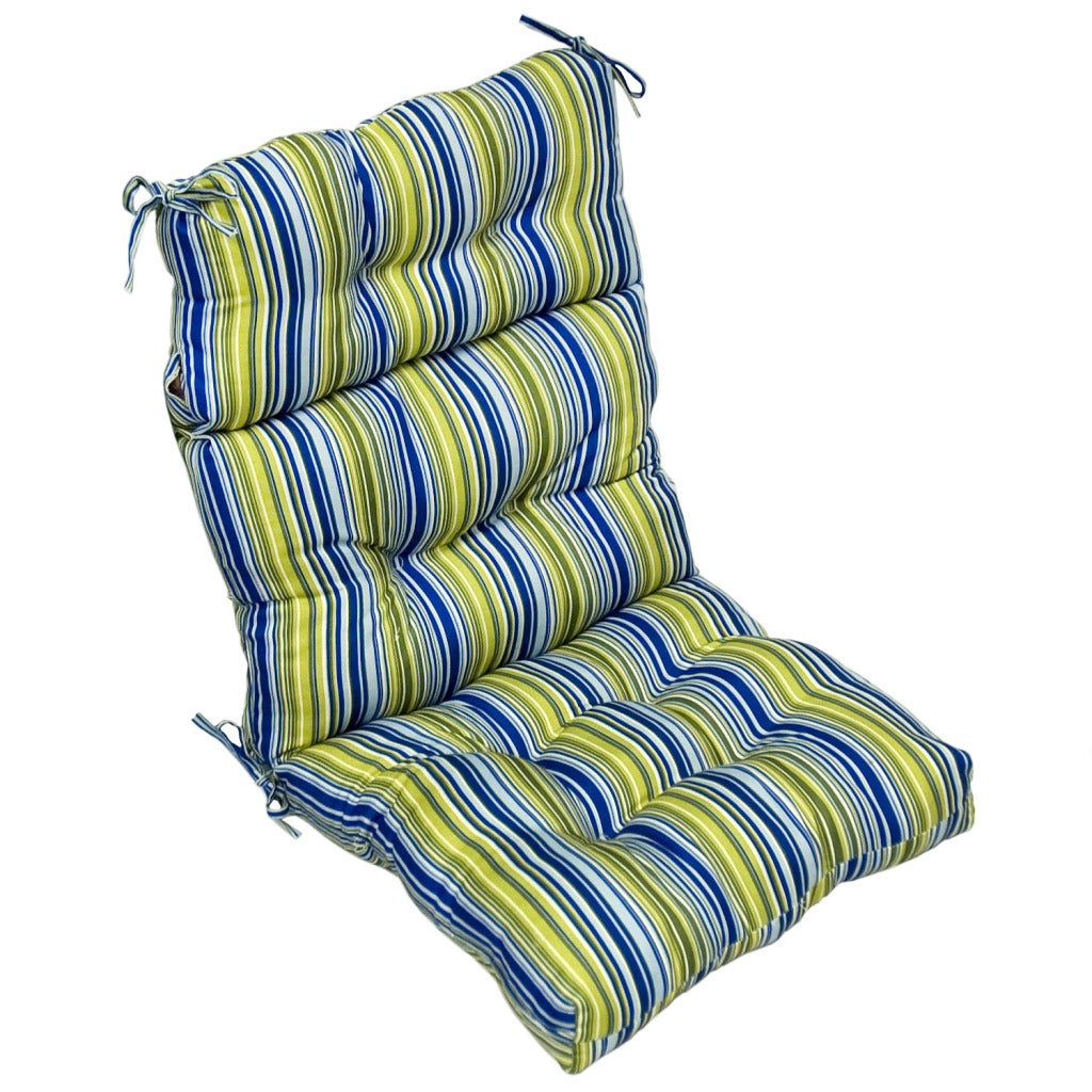 Outdoor Poolside Stripe High Back Chair Cushion
