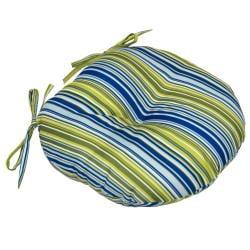 Poolside Stripe 15-inch Round Outdoor Bistro Chair Cushion (Set of 2)
