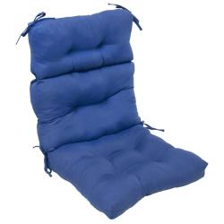 44x22-inch 3-section Outdoor Marine Blue High Back Chair Cushion