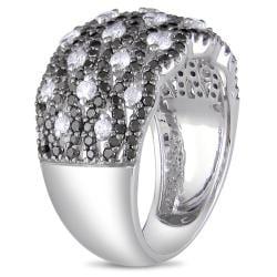 Miadora 14k White Gold 1 5/8ct TDW Black and White Diamond Ring (G-H, I1-I2)
