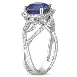 Miadora 18k White Gold Sapphire and 1/2ct TDW Diamond Ring (G-H, SI1-SI2)