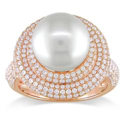 Miadora 14k Pink Gold South Sea Pearl and 1 1/4ct TDW Diamond Ring (G-H, SI1-SI2)