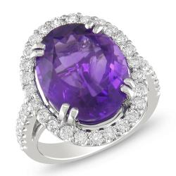 Miadora 14k White Gold Amethyst and 1ct TDW Diamond Cocktail Ring (G-H, SI1-SI2)
