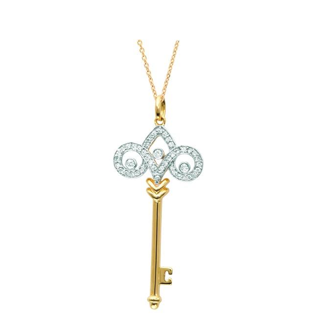 Gold-plated Silver 1/5ct TDW Diamond Fleur De Lis Pendant (H-I, I1-I2)