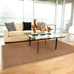 Beachcomber Sisal Boucle Weave Rug with Khaki Cotton Border (10' x 14')