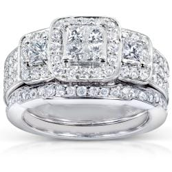 14k White Gold 1 1/6ct TDW Diamond Bridal Ring Set (H-I, I1-I2)