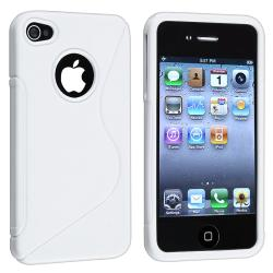 White S Shape TPU Rubber Skin Case for Apple iPhone 4/ 4S