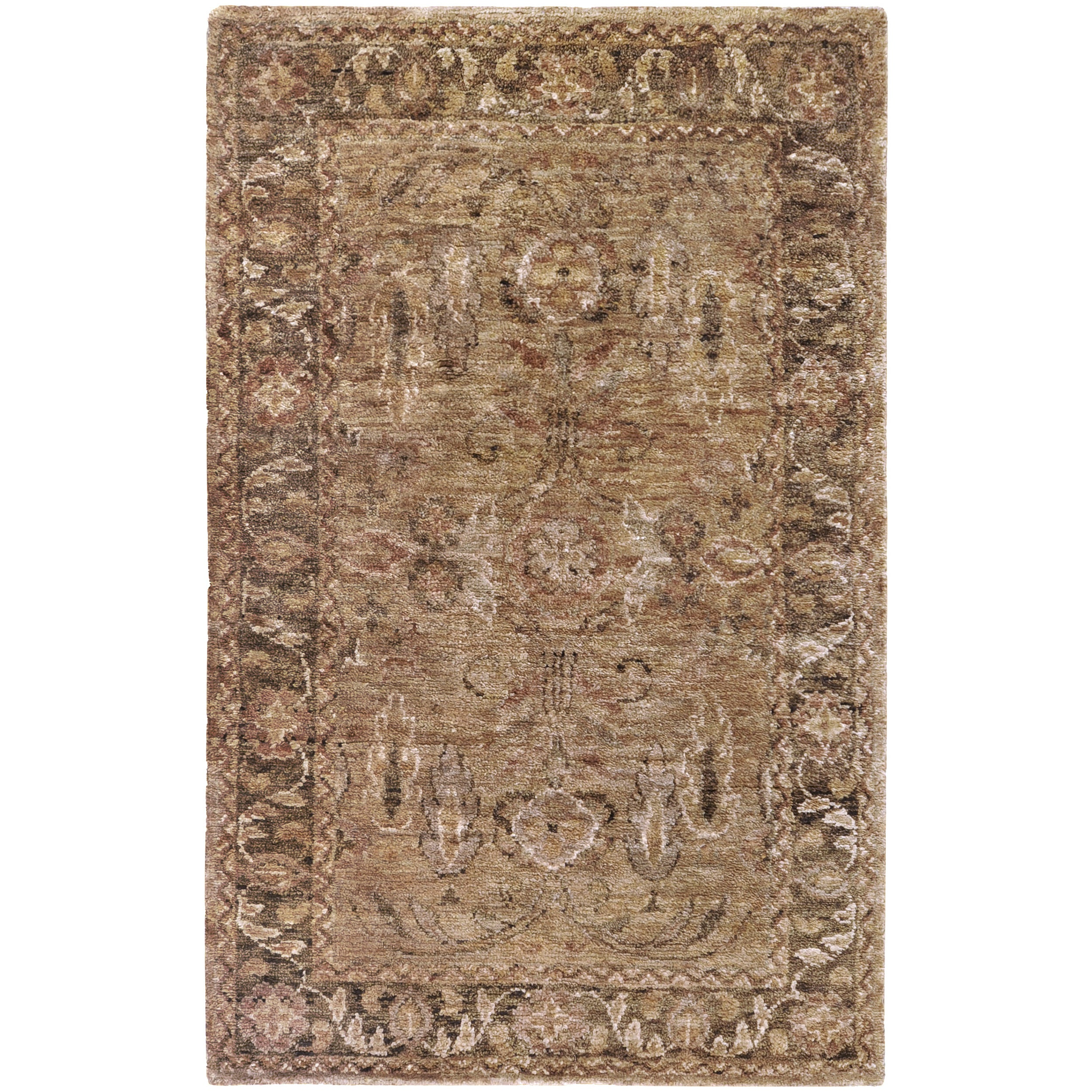 Hand-woven Brown Quizer Traditional Border Hemp Rug (3'3 x 5'3)