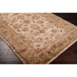 Hand-woven Cream Camata Traditional Border Hemp Rug (3'3 x 5'3)