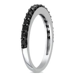 Miadora 10k White Gold 3/4ct TDW Black Diamond Ring