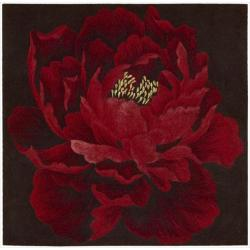Nourison Hand Tufted Red Flower Art Wool Rug (3' x 3')