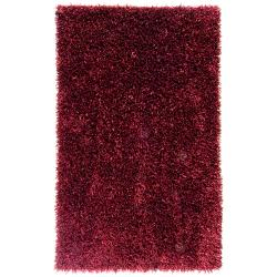 Hand-woven Red Asi Soft Plush Shag Rug (5' x 8')