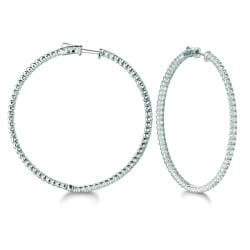 14k White Gold 3ct TDW Diamond Round Hoop Earrings (H-I, I1-I2)