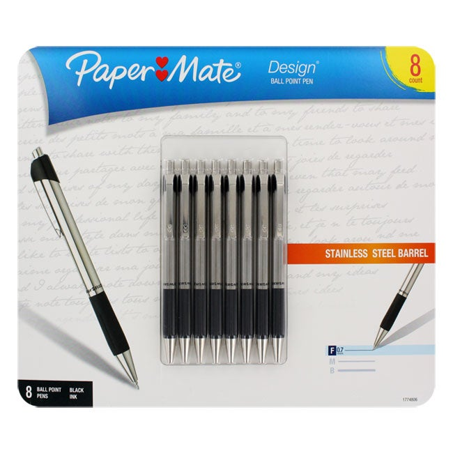 Papermate Design Retractable Fine Point Ballpoint Pens (Pack of 8)