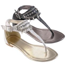 Journee Collection Women&#39;s &#39;Restrit&#39; Jewel Detail Gladiator Sandals