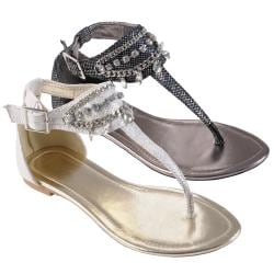 Journee Collection Women's 'Restrit' Jewel Detail Gladiator Sandals