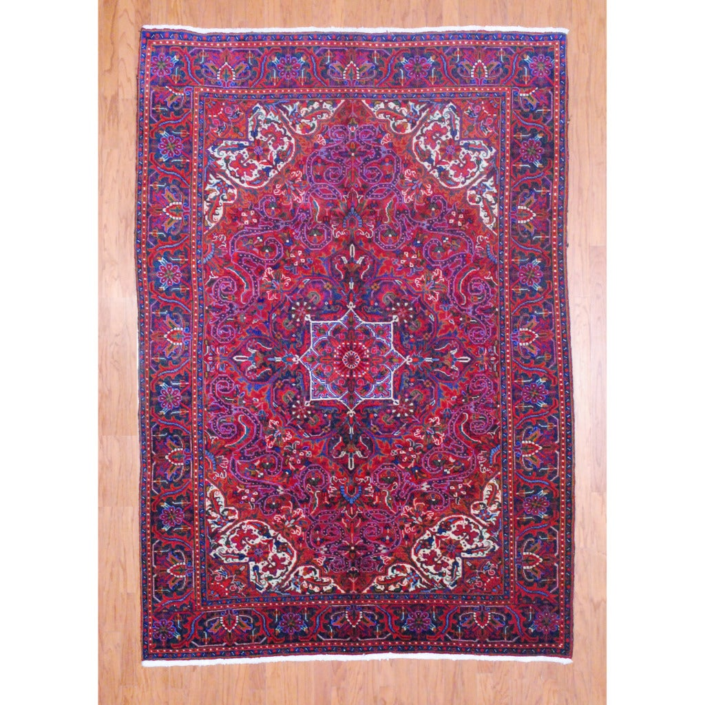 Persian Hand Knotted Heriz Red Purple Wool Rug 6 8 X 9 8