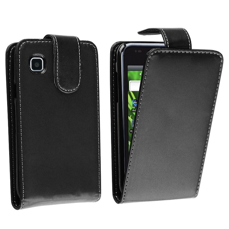 BasAcc Black Leather Pull Pouch for Samsung Vibrant T959
