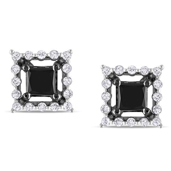Miadora 10k White Gold 1-1/2ct TDW Black and White Diamond Earrings (H-I, I2)