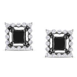 Miadora 10k White Gold 1-1/2ct TDW Black and White Diamond Earrings (H-I, I2)