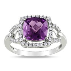 Miadora 10k Gold Created Alexandrite and 1/5ct TDW Diamond Ring (H-I, I2-I3)