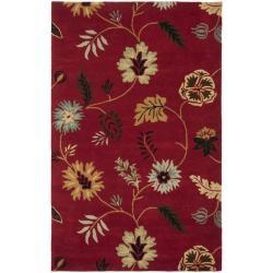 Handmade Botanical Gardens Red Wool Rug (4' x 6')