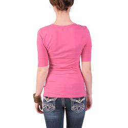 Journee Collection Juniors Half sleeve V neck Tee
