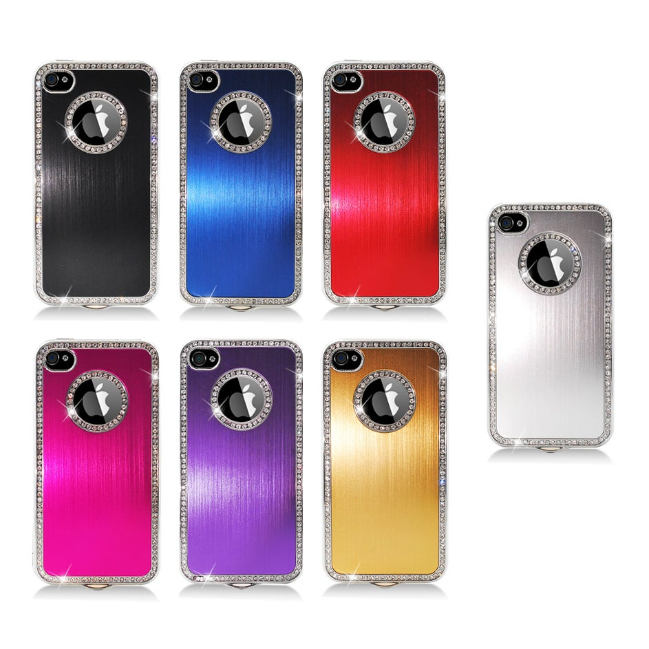 Apple iPhone 4/4S Aluminum Plated Hard Case with Sparkling Rhinestones