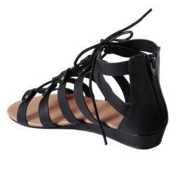 Journee Collection Women's 'Momo-1' Studded Lace-up Gladiator Sandals
