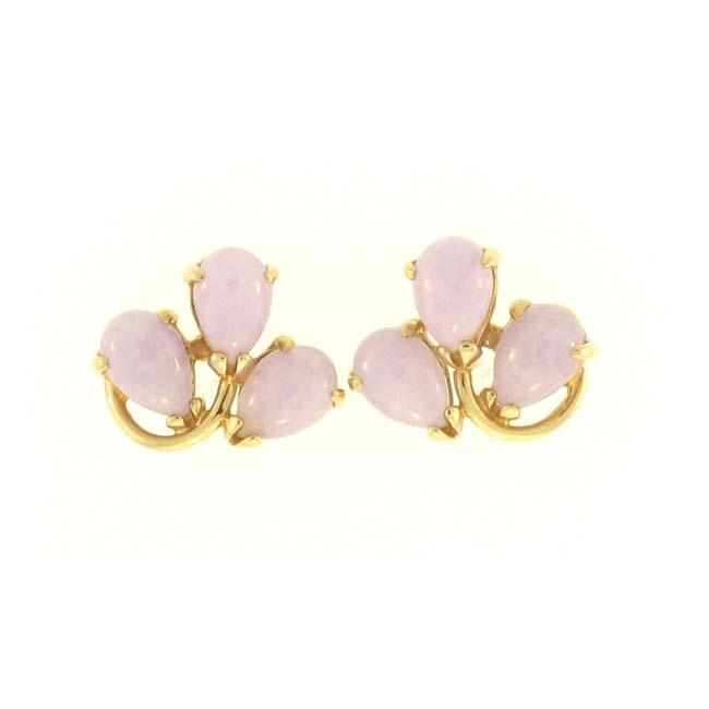 Mason Kay Lavendar Jadeite Jade Leaf Earrings