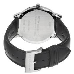 Burberry Mens Slim Black Dial Black Leather Strap Quartz Watch