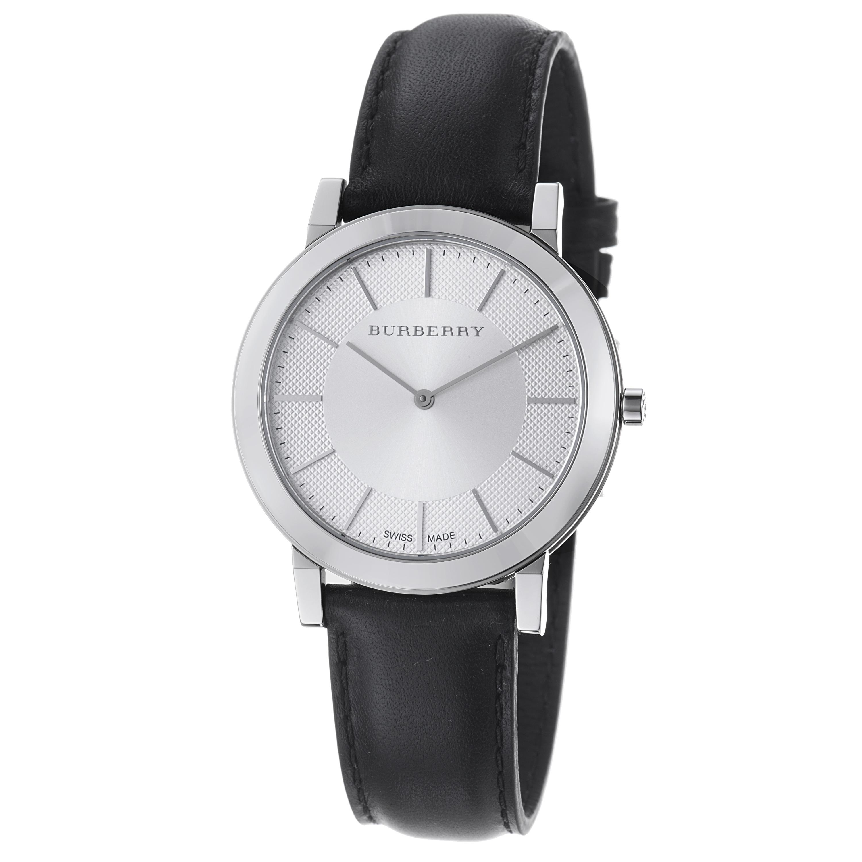 Burberry Men's 'Slim' Silver Dial Black Leather Strap Quartz Watch