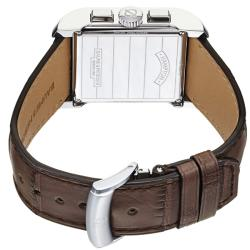 Baume & Mercier Men's 'Hampton' Silver Dial Brown Leather Strap Watch