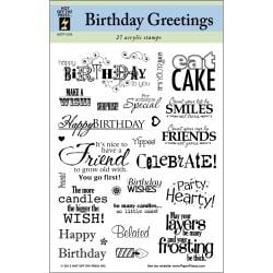 Hot off the Press Birthday Greetings Acrylic Stamp Sheet