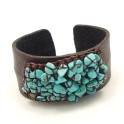 Turquoise Mosaic Cluster Attention Genuine Leather Cuff (Thailand)