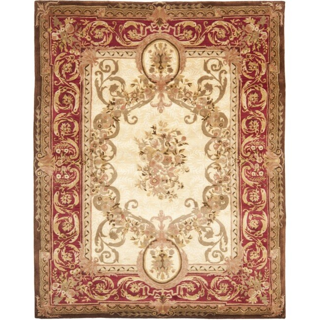 Safavieh Handmade Aubusson Maisse Light Gold/ Red Wool Rug (9'6 x 13'6)