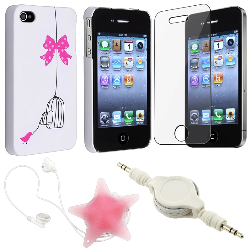 White Case/ Screen Protector/ Wrap/ Cable for Apple iPhone 4S